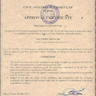 AOG Civil Aviation Authority Nepal Certified