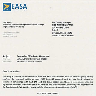 AOG Renewal of EASA Part-145 Approval